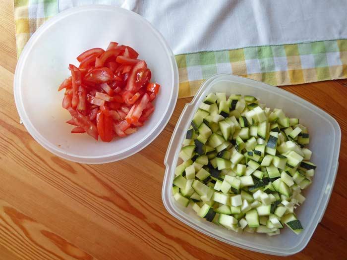 Zucchini-Gemüse Zutaten