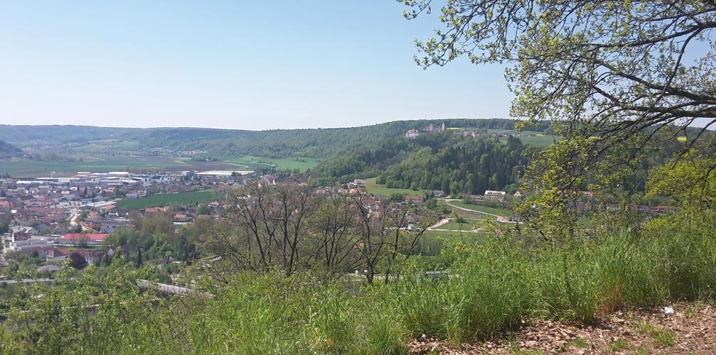 Ausblick auf Schloss Hirschberg von der Wodansburg